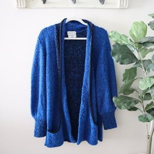 Retro cobalt blue oversized cardigan